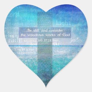Job 37:14 Bible Verse Heart Sticker