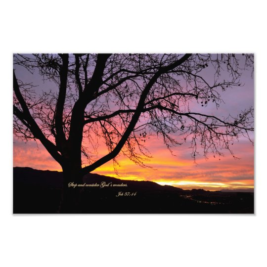 Job 37:14 Stop and consider God's wonders Photo Print