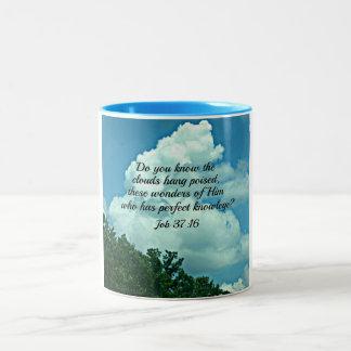 Job 37:16 Do you know the clouds... Two-Tone Coffee Mug