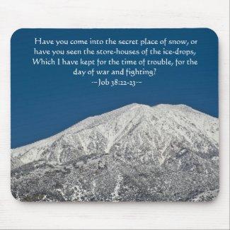 Job 38:22-23 Snowy Peak