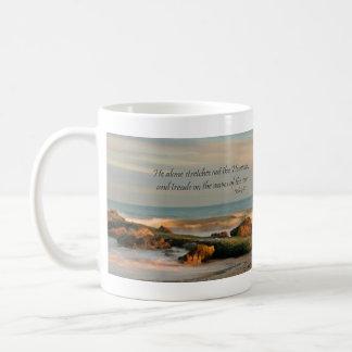 Job 9:8 Seascape with rocks and waves Coffee Mug
