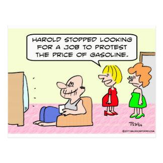 job protest price gasoline postcard
