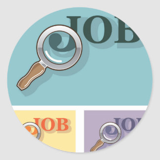 Job search under magnifying glass Vector illustrat Classic Round Sticker