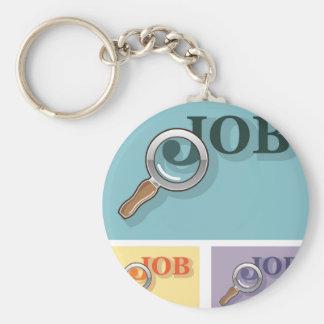 Job search under magnifying glass Vector illustrat Keychain