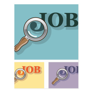 Job search under magnifying glass Vector illustrat Postcard