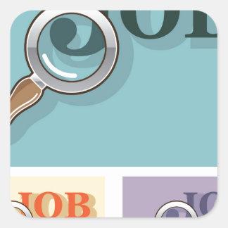 Job search under magnifying glass Vector illustrat Square Sticker