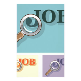 Job search under magnifying glass Vector illustrat Stationery