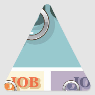 Job search under magnifying glass Vector illustrat Triangle Sticker
