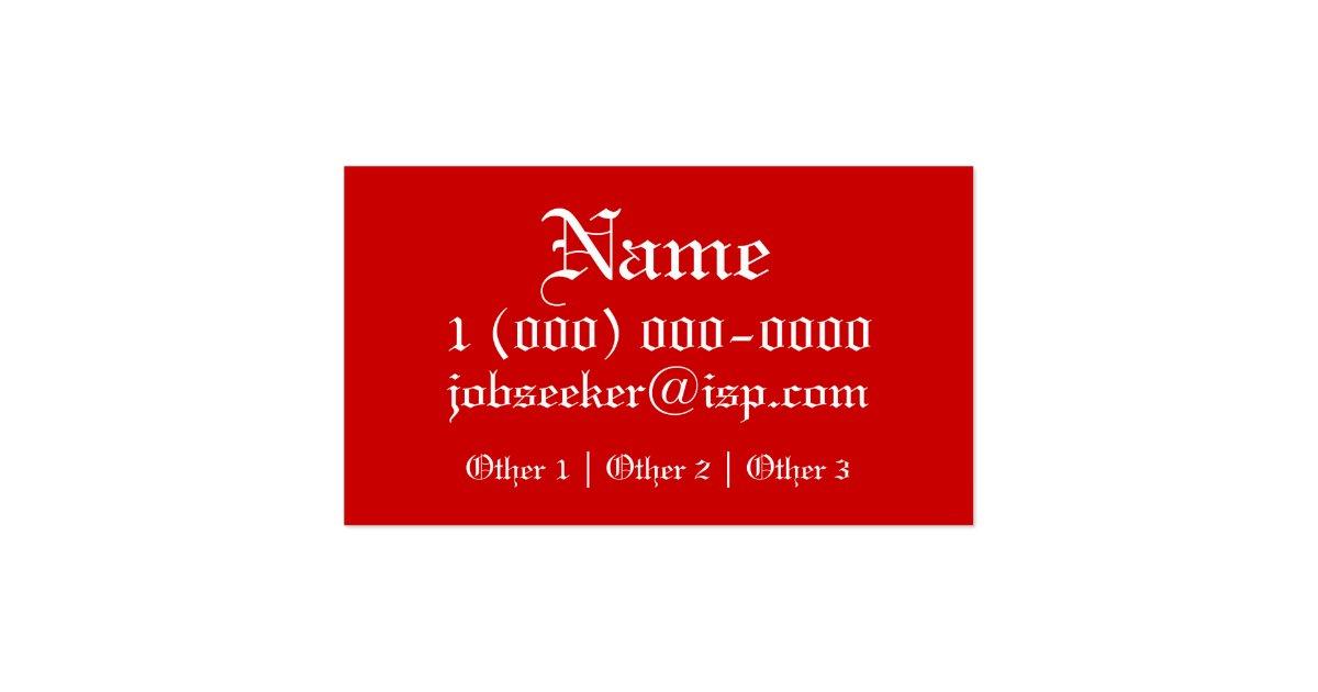 job seeker business card