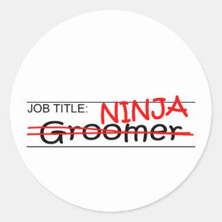 Job Title Ninja - Groomer Classic Round Sticker