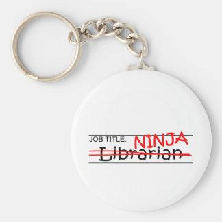 Job Title Ninja - Librarian Basic Round Button Keychain