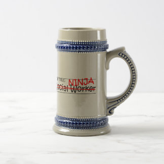 Job Title Ninja - Social Worker Beer Stein