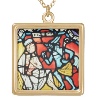 Job tormented by the Devil, 12th century (stained Gold Plated Necklace