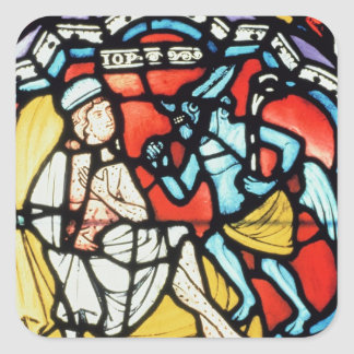 Job tormented by the Devil, 12th century (stained Square Sticker