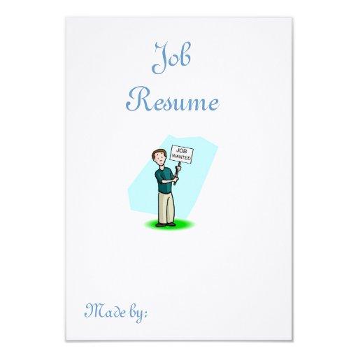 "Job Wanted Resume 3.5"" X 5"" Invitation Card"