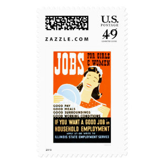 Jobs For Girls Women 1936 WPA Stamp
