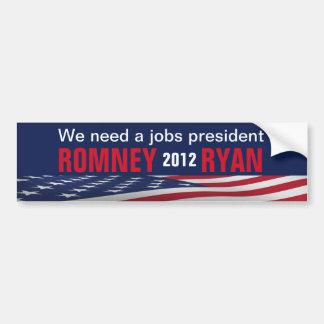 Jobs  Romney Ryan 2012 Bumper Sticker Decal