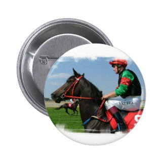 Jockey and Horse Round Button