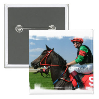 Jockey and Horse Square Pin