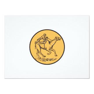 Jockey Camel Racing Circle Etching 6.5x8.75 Paper Invitation Card