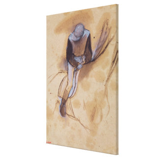 Jockey flexed forward standing in the saddle gallery wrap canvas