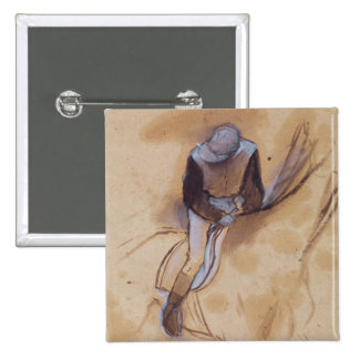 Jockey flexed forward standing in the saddle pinback button