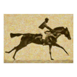 Jockey gallopping poster