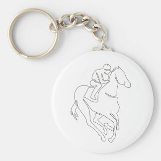 Jockey Horse Racing Continuous Line Keychain