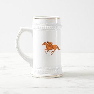Jockey Horse Racing Drawing Beer Stein