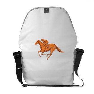Jockey Horse Racing Drawing Courier Bag