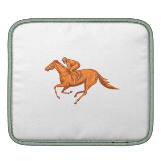 Jockey Horse Racing Drawing iPad Sleeve