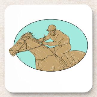 Jockey Horse Racing Oval Drawing Beverage Coaster