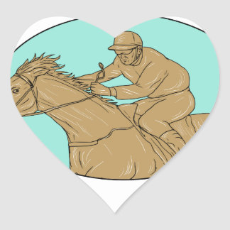 Jockey Horse Racing Oval Drawing Heart Sticker