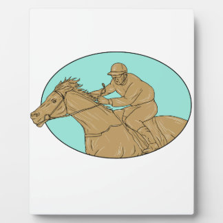 Jockey Horse Racing Oval Drawing Plaque