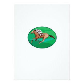Jockey Horse Racing Oval Low Polygon 14 Cm X 19 Cm Invitation Card