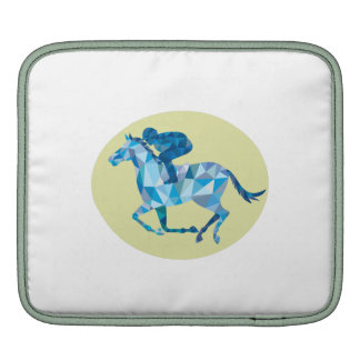 Jockey Horse Racing Oval Low Polygon Sleeves For iPads