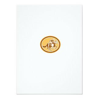 Jockey Horse Racing Oval Retro 14 Cm X 19 Cm Invitation Card