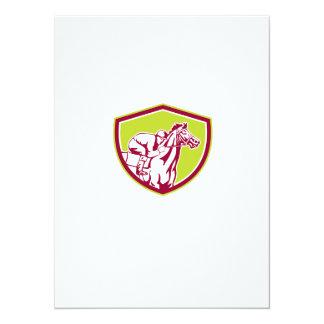Jockey Horse Racing Shield Retro 14 Cm X 19 Cm Invitation Card