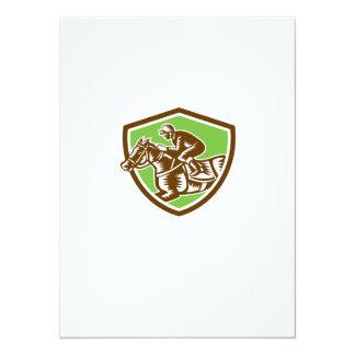 Jockey Horse Racing Shield Retro Woodcut 14 Cm X 19 Cm Invitation Card