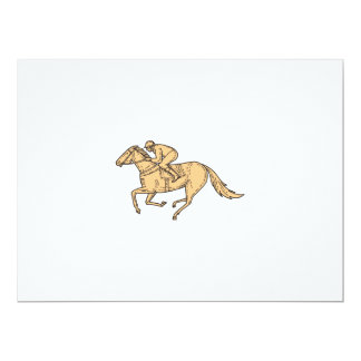 Jockey Horse Racing Side Mono Line Card