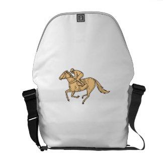 Jockey Horse Racing Side Mono Line Courier Bag