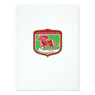 Jockey Horse Racing Side Shield Woodcut 14 Cm X 19 Cm Invitation Card