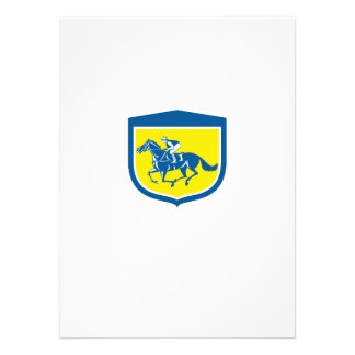Jockey Horse Racing Side View Shield Retro Personalized Announcement