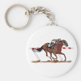 Jockey on Racehorse Basic Round Button Keychain