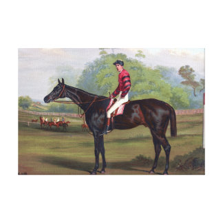 Jockey on Racehorse Vintage Painting Stretched Canvas Print