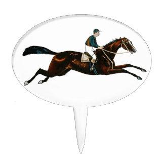 Jockey Riding A Race Horse Track Racing Cake Topper