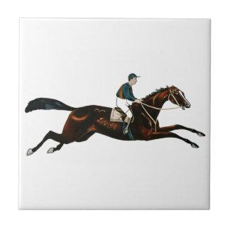 Jockey Riding A Race Horse Track Racing Ceramic Tile