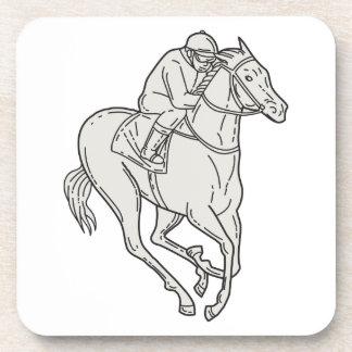 Jockey Riding Thoroughbred Horse Mono Line Drink Coaster