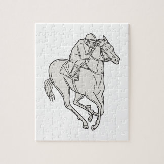 Jockey Riding Thoroughbred Horse Mono Line Jigsaw Puzzle