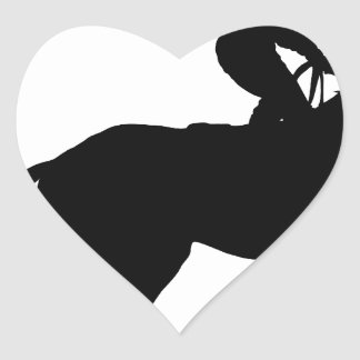 Jockey Silhouette Heart Sticker